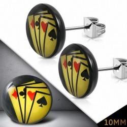 10mm |Boucles d'oreille cercle en acier inoxydable à 4 cartes de jeu (paire)