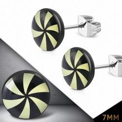 7mm  Boucles d'oreilles clous en acier inoxydable 3 tons avec cercle de moulin à vent (paire)