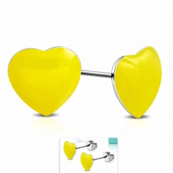 Boucles d'oreilles clous en acier inoxydable bicolores avec cœur jaune en résine (paire)
