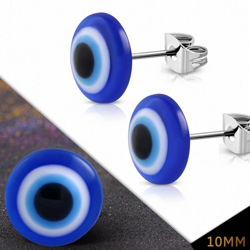 10mm  Créoles en oeil de globe oculaire en acier inoxydable avec yeux 5 tons (paire)
