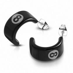 Boucles d'oreille demi-créoles n ° 8 en acier inoxydable avec acrylique noir 2 tons (paire)