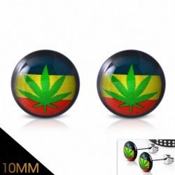 10mm |Boucles d'oreilles clous cercle Ganja Leaf en acier inoxydable à quatre tons en marijuana (paire)