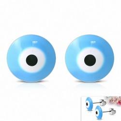 8mm  Boucle oreilleCréoles Eyeball en acier inoxydable avec yeux 4 tons (paire)