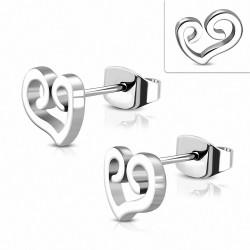 Boucles d'oreilles en forme de coeur d'amour en acier inoxydable à spirale en acier inoxydable (paire)