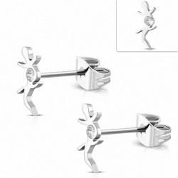Boucles d'oreilles en forme de lézard porte-bonheur en acier inoxydable avec cZ transparent (paire)