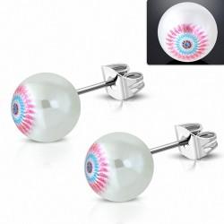 9.5mm |clous en acier inoxydable avec boucles d'oreilles en perles blanches acrylique (paire)