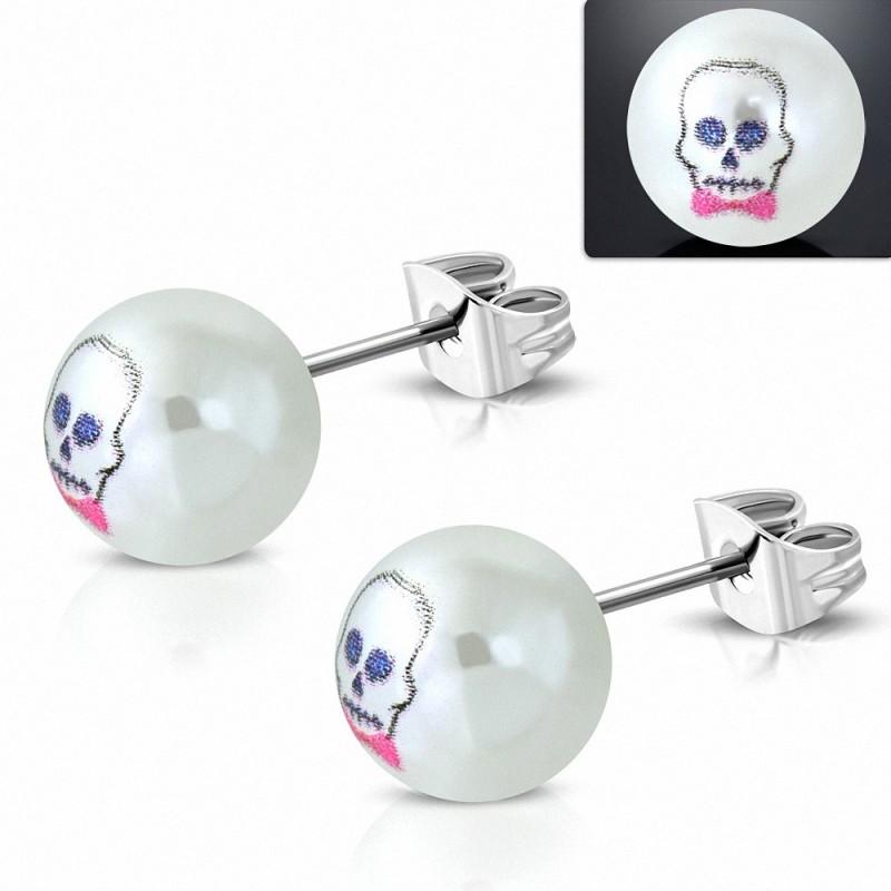 9.5mm |clous en acier inoxydable avec boucles d'oreilles en perles de perle Frankenstein à 3 tons en acrylique blanc (paire)