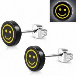 10mm |clous en acier inoxydable boucles d'oreilles en forme de cercle de smiley heureux souriant / émoticône en acrylique noir