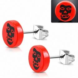 10mm |clous en acier inoxydable avec boucle d'oreille cercle crâne rond 3 tons en acrylique rouge (paire)