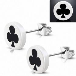 10mm |clous en acier inoxydable boucles d'oreilles en forme de cercle pour club de cartes à jouer blanches acryliques blanches