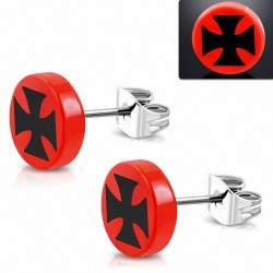 10mm |clous en acier inoxydable boucles d'oreilles en forme de cercle rond croix à trois tons en acrylique rouge (paire)