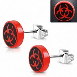 10mm |clous rond en acier inoxydable avec symbole Biohazard à 3 tons en acrylique rouge (paire)