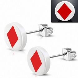 10mm |clous en acier inoxydable boucles d'oreilles en forme de diamant et de cartes à jouer à trois tons en acrylique blanc