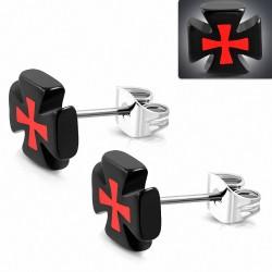clous en acier inoxydable avec boucles d'oreilles en forme de croix à trois tons en acrylique noir (paire)