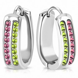Boucles d'oreilles Huggie en forme de fer à cheval en acier inoxydable avec CZ rose et vert (paire)