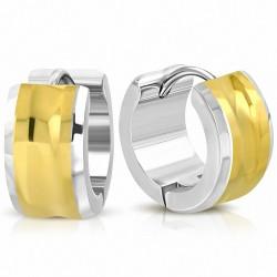 7mm |Boucles d'oreilles créoles Hugope concaves en acier inoxydable à deux tons (paire)