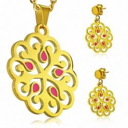 Pendentif en forme de fleur avec pendentif émaillé en acier inoxydable doré rose et paire de Boucles d'oreilles clous