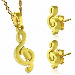Pendentif en forme de breloque note musicale avec clef de sol en acier doré et paire de Boucles d'oreilles clous