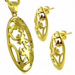Pendentif en forme de fleur ovale en forme de fleur en forme de fleur en acier inoxydable doré avec paire (SET)