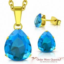 Collier pendentif en forme de poire / larme en acier doré avec paire de Boucles d'oreilles clous avec bleu ciel aigue-marine