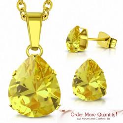 Collier pendentif en forme de poire / larme en acier inoxydable doré avec paire de Boucles d'oreilles clous zircon jaune