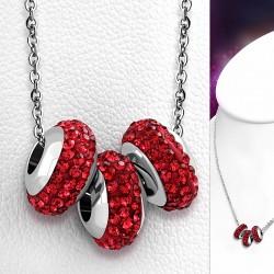 Collier en acier inoxydable à trois rangées de billes de Shamballa avec collier de perles à glissière et jacinthe orange CZ