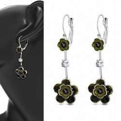 Boucles d'oreilles en alliage à la mode en forme d'étoile avec fleurs et crochet (paire)