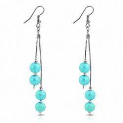 Boucles d'oreilles à crochets longs et à la mode en alliage de perles (paire)