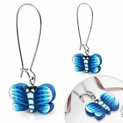 Boucles d'oreilles pendantes en alliage fantaisie avec fimo argile polymère (paire)
