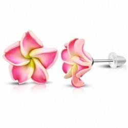 16mm  Boucles d'oreilles à la mode en forme de fleur de Fimo / Polymère avec Plumeria (paire) - FEO051