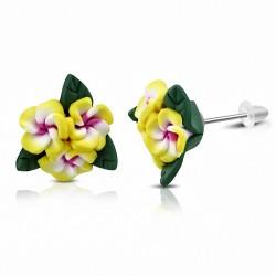 Boucles d'oreilles à la mode en forme de fleur de Fimo / Polymère avec Plumeria (paire) - FEM138
