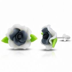 Boucles d'oreilles à la mode en forme de fleur de Fimo / Polymer Rose (Paire) - FEM146