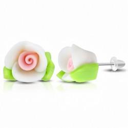 Boucles d'oreilles à la mode en forme de fleur de Fimo / Polymer Rose (FEM)
