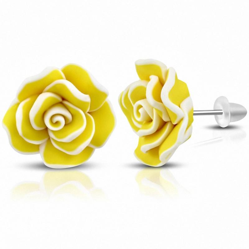 Boucles d'oreilles à la mode en fimo / pâte polymère avec rose jaune (paire)