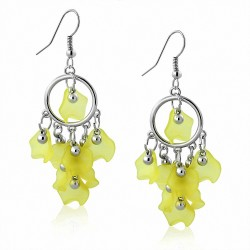 Boucles d'oreilles pendantes en forme de perle bohémienne en alliage vert avec perle longue (paire)