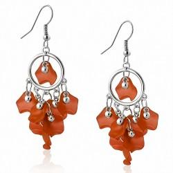 Boucles d'oreilles pendantes avec crochet long en alliage orange et perle de bohème (paire)