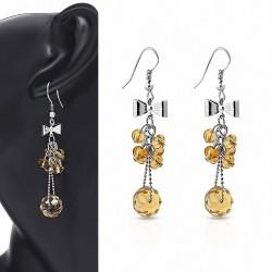 Boucle d'oreille crochet en alliage de mode avec perles et perles longues (paire)