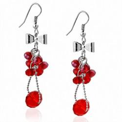 Boucle d'oreille crochet en alliage à la mode avec perles rouges à grappes et perle longue (paire)
