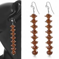 Boucles doreilles en alliage fantaisie marron avec perle longue et crochet avec cz incolore (paire)