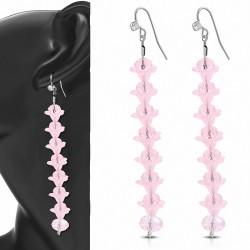 Boucles d'oreilles en alliage à la mode en forme de perle avec des fleurs roses et cZ transparentes (paire)