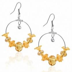 Boucles d'oreilles avec crochet en forme de bohème et perle longue en alliage orange fantaisie avec perles en zirconium clair
