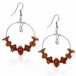 Boucles d'oreilles avec crochet en bohème et perles fantaisie en alliage de fleurs marron clair avec CZ clair (paire)