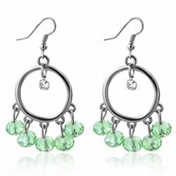 Boucles d'oreilles avec crochet en alliage tendance à perles vertes et bohème  (paire)