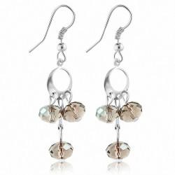 Boucles doreilles en alliage brun à la mode avec perles longues et crochet (paire)