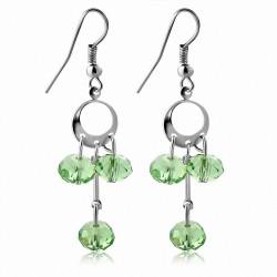 Boucles d'oreilles en alliage de perles vert clair fantaisie avec perles longues (paire)