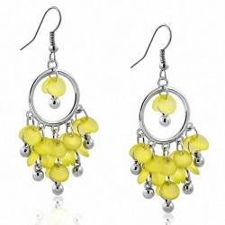 Boucles d'oreilles en crochet avec perles jaunes en alliage fantaisie à la mode (paire)