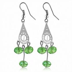 Boucles d'oreilles à crochets et perles style bohème en alliage vert (paire)