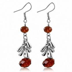 Boucles doreilles en alliage brun à la mode avec perles longues et crochets (paire)