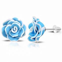 20mm |Boucles d'oreilles à la mode en argile polymère / fimo / bleu avec fleur rose (paire)