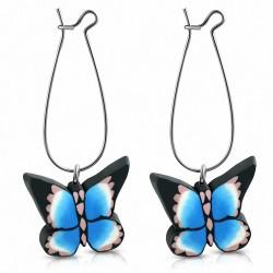 Boucles d'oreilles pendantes en forme de papillon multicolore en alliage fashion avec fimo / argile polymère (paire)